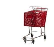cart röd shoppingwhite Arkivfoto