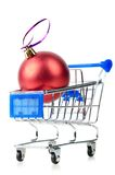 Cart with red gift box Stock Photo