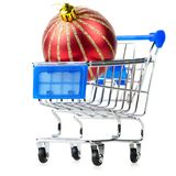 Cart with red gift box Stock Photos