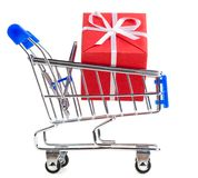 Cart with red gift box Stock Image