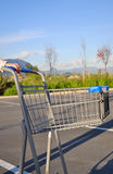 Cart reture. Person return shopping cart outside mall Royalty Free Stock Photography