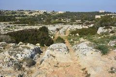 Cart ruts in Malta. Royalty Free Stock Photography