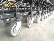 Cart  several rows combine in shops supermarkets Royalty Free Stock Image