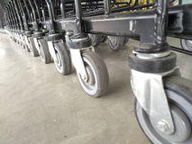Cart  several rows combine in shops supermarkets Royalty Free Stock Photos