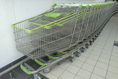 Cart  several rows combine in shops supermarkets Stock Image