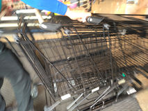 Cart  several rows combine in shops supermarkets Royalty Free Stock Photo