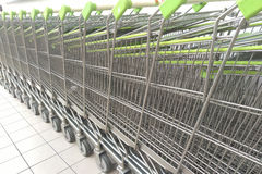 Cart  several rows combine in shops supermarkets Stock Images