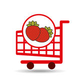Cart shopping fruit strawberry icon graphic Royalty Free Stock Photography