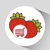 Cart shopping fruit strawberry icon graphic Stock Image