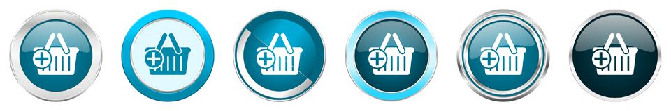 Cart silver metallic chrome border icons in 6 options, set of web blue round buttons isolated on white background royalty free stock images