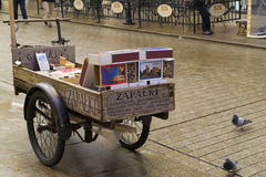 Cart with souvenir matches for sale Royalty Free Stock Images