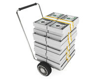 Cart with stack of money Royalty Free Stock Photography