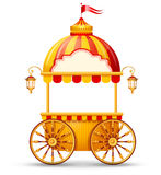 Cart stall. Brightly colored cart stall for fast food street trading. Vector illustration Stock Photos
