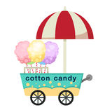 Cart stall and cotton candy vector Stock Photos
