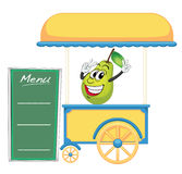 A cart stall and a pear. Illustration of a cart stall and a pear on a white background stock illustration