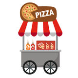 Cart stall and pizza vector Stock Photo