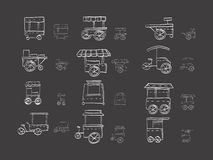 Cart stall sketch icons on black Royalty Free Stock Photography
