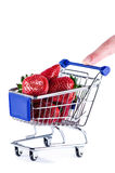 Cart strowberries and finger Stock Photography