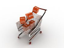 Cart from a supermarket with percent Stock Photography