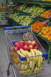 The cart from a supermarket with products Royalty Free Stock Photo