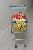 The cart from a supermarket with products Stock Image