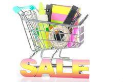 Cart for a supermarket with stationery. Concept - sales and disc. Ounts for stationery Stock Images