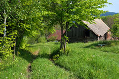 Cart track and a barn. Path way and an old barn situated on a hilly meadow, spring time Stock Photography