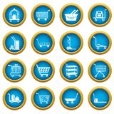Cart types icons set, simple style. Cart types icons set. Simple illustration of 16 cart types icons set vector icons for web Stock Photo