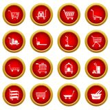Cart types icons set, simple style. Cart types icons set. Simple illustration of 16 cart types icons set vector icons for web Royalty Free Stock Photography