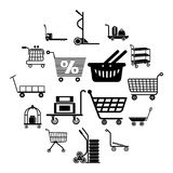Cart types icons set, simple style. Cart types icons set. Simple illustration of 16 cart types icons set vector icons for web Royalty Free Stock Image