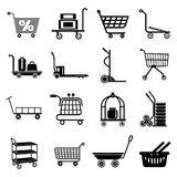 Cart types icons set, simple style. Cart types icons set. Simple illustration of 16 cart types icons set vector icons for web stock illustration