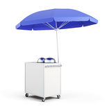 Cart with umbrella for sale food. 3d rendering stock illustration