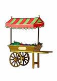 Cart of vegetables. Vector illustration of a street trade, file EPS 10 Stock Illustration