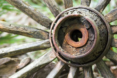 Cart wheel B. Old abandoned cart wheel, close up on hub Stock Photography