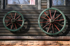 Cart wheel house decoration Stock Images
