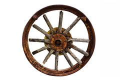 Cart Wheel made of wood isolated background Stock Photos