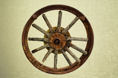 Cart Wheel made of wood vintage background Stock Photography