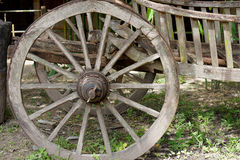Cart wheel made by wood Royalty Free Stock Images