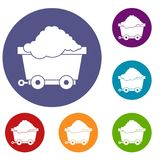 Cart on wheels with coal icons set Stock Images