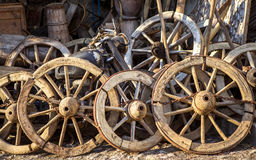 Wagon Wheels and Scrap Motorcycle Royalty Free Stock Images