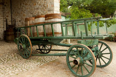 Cart with wine barrels Stock Images