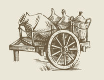 Cart with wine. Old wooden cart transport with wine vector illustration Stock Photography