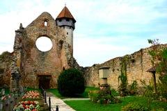 Carta中世纪修道院废墟看法在锡比乌, Transilvania附近的 库存图片
