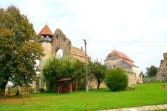 Carta中世纪修道院看法在锡比乌, Transilvania附近的 库存图片