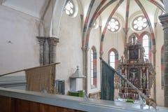 CARTA,罗马尼亚- 2017年8月13日, :一个chatolic教会的内部 免版税库存照片