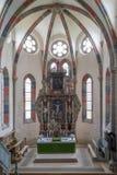 CARTA,罗马尼亚- 2017年8月13日, :一个chatolic教会的内部 免版税库存图片
