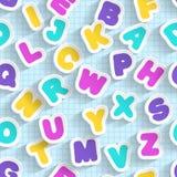 Carta ABC senza cuciture Fonte fatta a mano Fotografie Stock Libere da Diritti