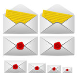 Carta aberta e fechado com um selo Imagem de Stock