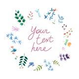 Carta adorabile di concetto della molla fatta nella tecnica dell'acquerello - illustrazione Fotografia Stock Libera da Diritti