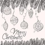 Carta allegra di cristmas con i rami e le decorazioni Fotografie Stock